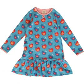 Maxomorra Frill Dress (Bright Birds)