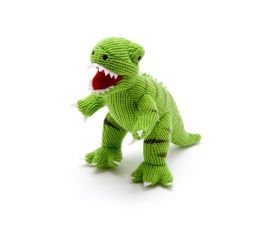 Toy - Green Knitted T-Rex rattle (small)