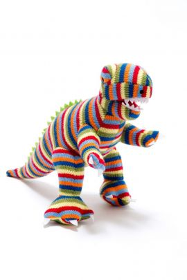 Knitted Toy - Colourful T-Rex (large)