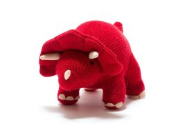 Toy - Knitted Red Triceratops Rattle (small)
