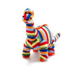 Toy - Multi-Striped Knitted Diplodocus Rattle