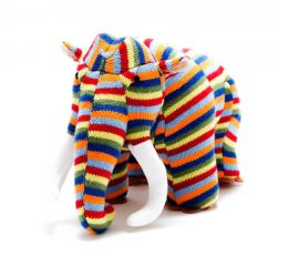 Knitted Toy - Colourful Stripe Woolly Mammoth